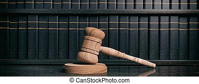 bureau., books., illustration, juge, avocat, marteau, droit & loi, 3d