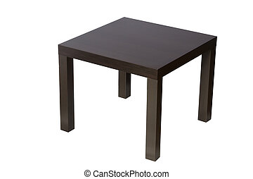 bureau brun, isolé, blanc