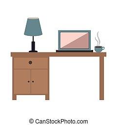 bureau, bureau, icône