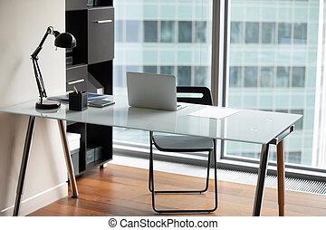 bureau bureau, ordinateur portable, moderne, paperasserie, il