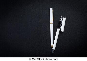 bureau bureau, table, à, stylo