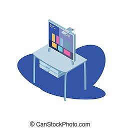 bureau, bureau, tv, contrôle, écran, éloigné