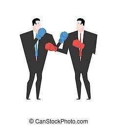 bureau, business, boxe, combat, fight., homme affaires, gloves.