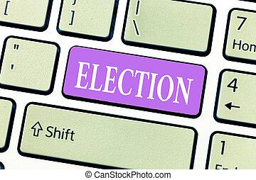 bureau, business, conceptuel, photo, projection, organisé, écriture, election., showcasing, main, démontrer, politique, vote, choix, formel