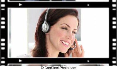 bureau, business, conversation, montage, gens, téléphone