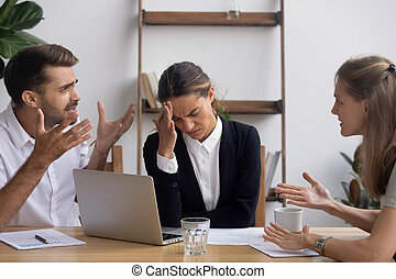 bureau, business, employé, accentué, ennuyé, avoir, mal tête, réunion, migraine