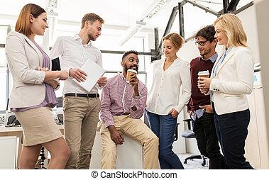 bureau, business, heureux, café, boire, équipe