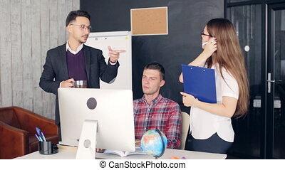 bureau, business, moderne, idées, brain-storming, collègues, nouveau, discuter