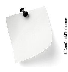 bureau, business, noter papier, épingle, poussée