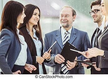bureau,  Business, patron,  closeup, fond, équipe