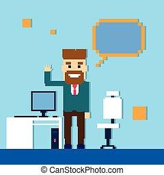 bureau, business, point, espace, doigt, homme, homme affaires, copie, vide, lieu travail