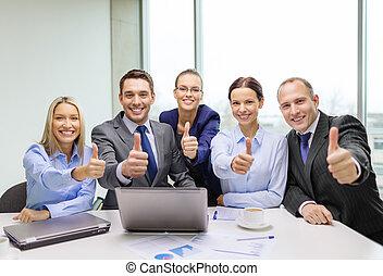 bureau, business, projection, haut, pouces, équipe