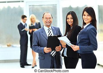 bureau,  Business, réussi, fond, équipe,  document