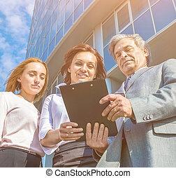 bureau,  Business, réussi, tablettes, fond, équipe