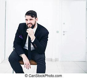 bureau, business, séance, réussi, complet, homme affaires, chaise