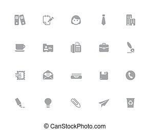 //, bureau, business, &, série, icônes, 32px, blanc