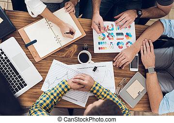 bureau, business, sommet, meeting., mains, pendant, employés, vue