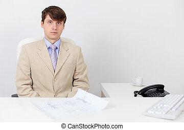 bureau, business, travail, complet, sérieux, homme