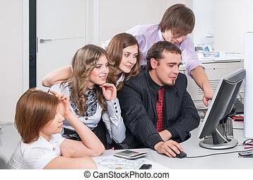 bureau, business, travail, planification, cinq, équipe