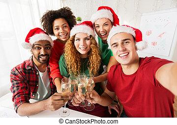 bureau, célébrer, équipe, fête, noël, heureux