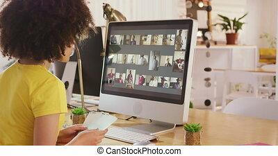 bureau, côté, femme, mélangé, vue, créatif, course, ...