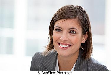 bureau, cadre femelle, portrait