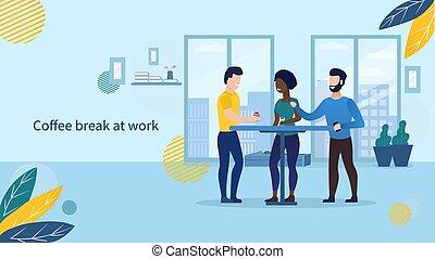 bureau, café, bureau., vecteur, collègues, gens, temps, lunch., concept., vie, prendre, plat, work., caractères, illustration, coupure, avoir, business