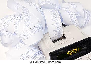 bureau, calculatrice, à, bandes, pour, calculer, coûts,...