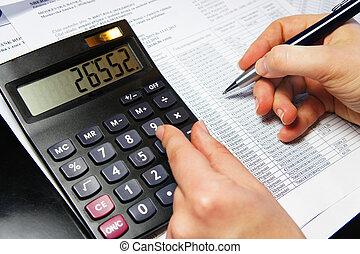 bureau, calculatrice, stylo, table, comptabilité, document