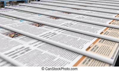 bureau, ceinture, convoyeur, dernier, nouvelles, éditorial, sortie, journaux