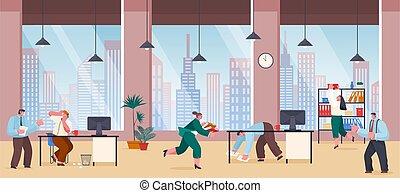 bureau, chaos, autour de, papiers, subordinates, yells, employés, nerveux, tomber, courant, patron