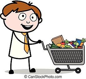 bureau, -, charrette, ajouter, vecteur, produits, illustration, employé, vendeur, dessin animé