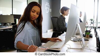 bureau, collègues affaires, fonctionnement, 4k