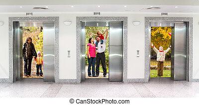 bureau, collage, trois, bâtiment, ascenseur, couloir, automne, été, famille, portes