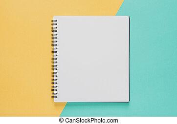 bureau, concept., arrière-plan., vide, minimal, jaune, cahier, lieu travail, bleu