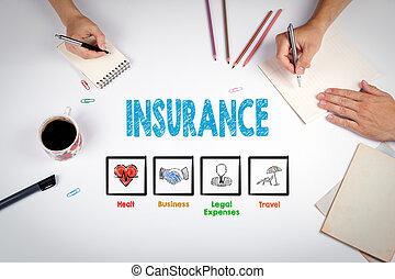 bureau, concept., table, blanc, réunion, assurance