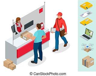 bureau, concept., vecteur, bureau., homme, poste, correspondance, attente, paquet, isolé, isométrique, illustration, jeune