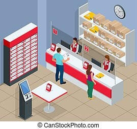 bureau, concept., vecteur, bureau., homme, poste, correspondance, attente, paquet, isolé, isométrique, illustration, femme, jeune