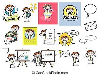 bureau, concepts, vecteur, type, illustrations, -, ensemble