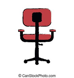 bureau, confort, conception, lieu travail, chaise, dessin animé