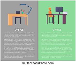 bureau, confortable, lampe, lieu travail, table, chaise