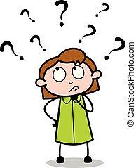 bureau, confusion, -, illustration, vecteur, retro, employé, girl, dessin animé