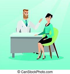 bureau., consultant, patient, docteur féminin