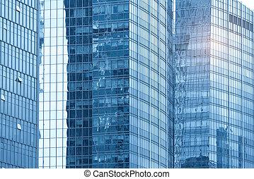 bureau contemporain, bâtiment, verre bleu, mur, détail