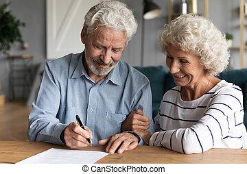 bureau, contrat, avocat, 60s, époux, signe, personnes agées, mariage