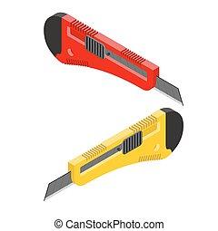 bureau, coupeur, papier, isometrics., couteau, papeterie