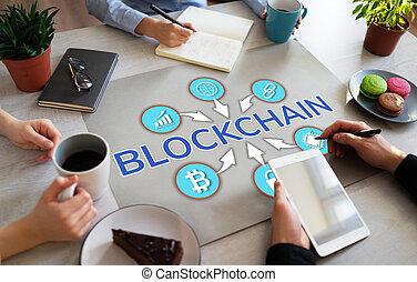 bureau, cryptocurrency., blockchain, desktop., concept financier, technologie