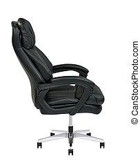bureau, cuir, isolé, noir, chaise, blanc