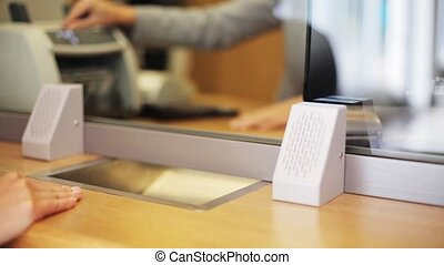 bureau, dénombrement, argent, commis, client, banque