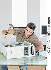 bureau, détruire, fâché, clair, informatique, ingénieur,...